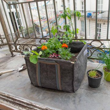 Grand pot carrés géotextile jardinage au balcon La Box à Planter