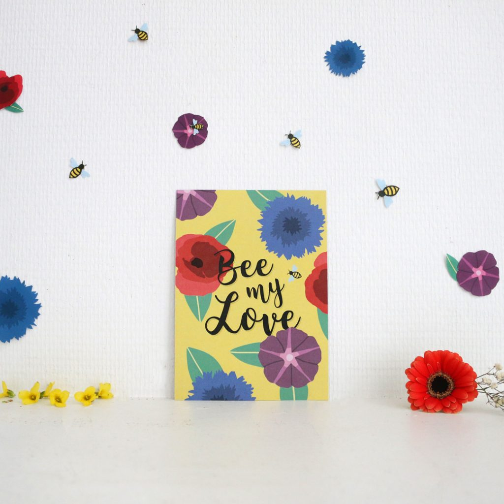 Carte bee my love saint valentin